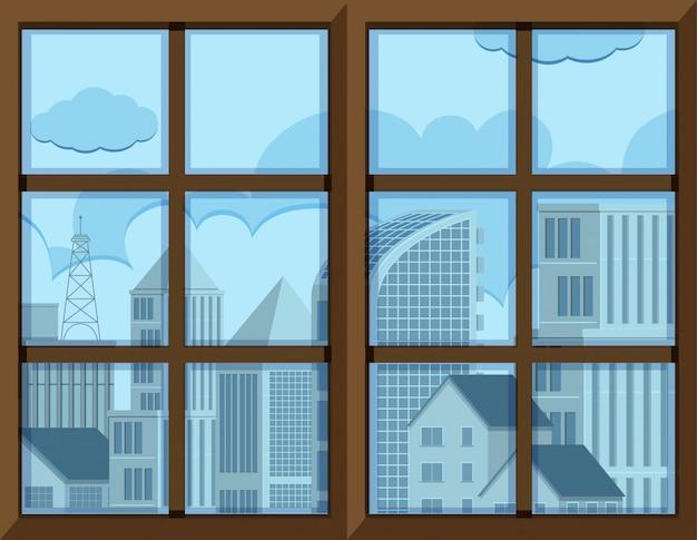 Rama okna z widokiem z zewnątrz