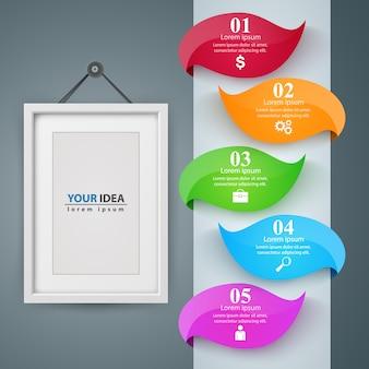 Rama, papierowy biznesowy infographic szablon
