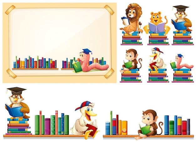 Rama papieru i wiele zwierząt, czytanie książek