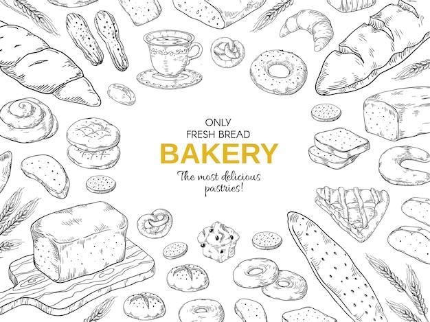 Rama piekarni. ręcznie rysowane szablon transparent chleb i ciasteczka.