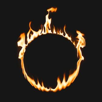 Rama płomienia, kształt koła, realistyczny wektor płonącego ognia