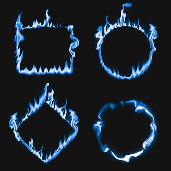 Rama płomienia, niebieskie kwadratowe kształty kół, realistyczny zestaw wektorów płonącego ognia