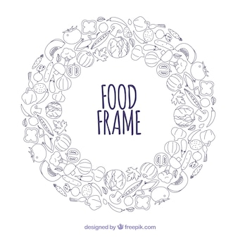 Rama pyszne jedzenie z ręcznie rysowane stylu
