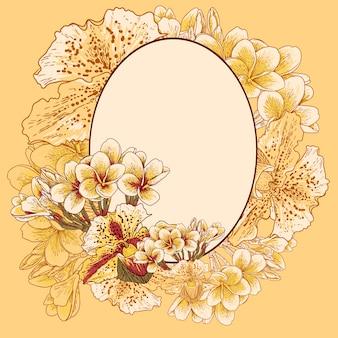 Rama retro z egzotycznymi kwiatami