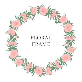 Rama różowy kwiatowy koło