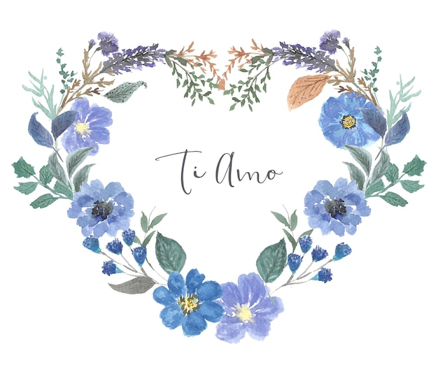 Rama serce wieniec kwiat akwarela vintage