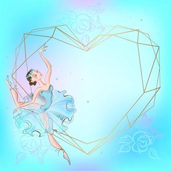 Rama serce z baletnicą