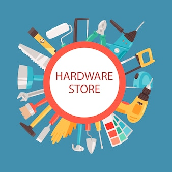 Rama sklepu z narzędziami. narzędzia budowlane w sklepie.