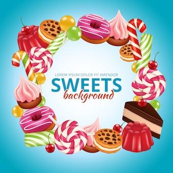 Rama słodkich cukierków. lollipop okrągłe i skręcone sklepowe kolorowe realistyczne zdjęcia w tle dulce