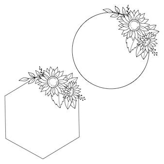 Rama słonecznika okrągła i sześciokątna ramka kwiatowa rysunek konspektu ilustracja wektorowa linii
