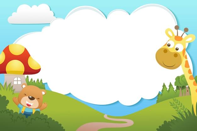 Rama szablon kreskówka z uroczych zwierzątek. niedźwiedź i żyrafa na tle przyrody