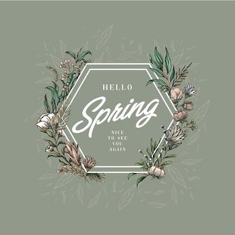 Rama sześciokątna hello spring