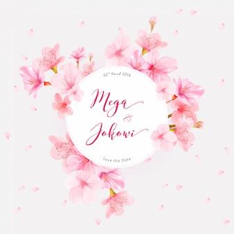 Rama tło wiśni kwiat z ręcznie rysowane kwiaty