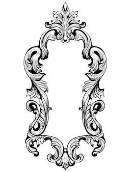 Rama vintage. barokowy element dekoracyjny. królewskie ozdoby wiktoriańskie