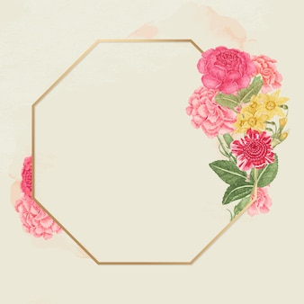 Rama w stylu vintage w kwiaty ze złota, zremiksowana z xviii-wiecznych dzieł sztuki z archiwum smithsonian.