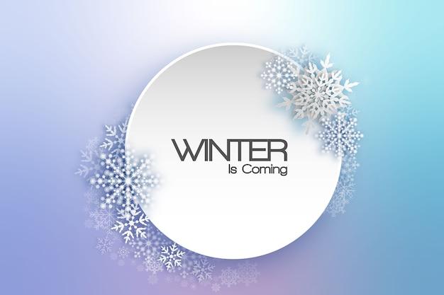 Rama wakacje płatki śniegu. kartka świąteczna zimowa do sieci, banerów, zaproszeń, ulotek i tak dalej. boże narodzenie tło.