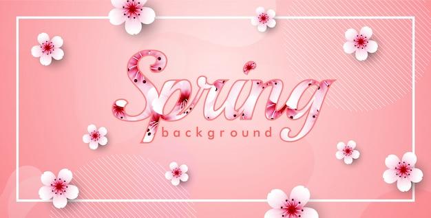 Rama wektor kwiat wiśni. różowy tło wiosna sakura