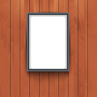 Rama wektor na tle ściany drewniane. wystawa fotografii dekoracyjnej pustej ramki