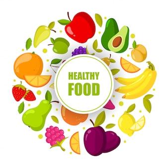 Rama wektor organicznych owoców na białym tle. baner z ilustracją naturalnej zdrowej żywności