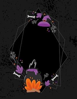 Rama wektor przerażający halloween. ręcznie rysowana dekoracja miska wiedźmy, kości i magia