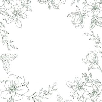 Rama wektor z ręcznie rysowane botanicznych ilustracji kwiatowy