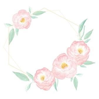 Rama wieniec akwarela dzikiej różowej róży ze złotą ramą