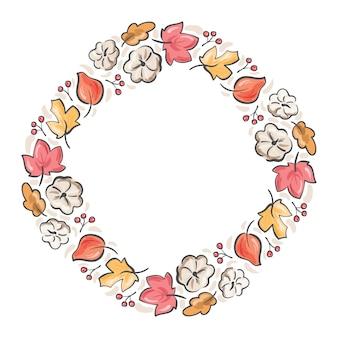 Rama wieniec bukiet jesień. liście pomarańczy, jagody i dyni