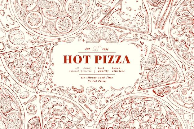 Rama włoskiej pizzy i składników.