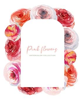Rama z akwarela piękne różowe róże białe i czerwone
