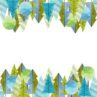 Rama z akwareli prostych drzew i świerków