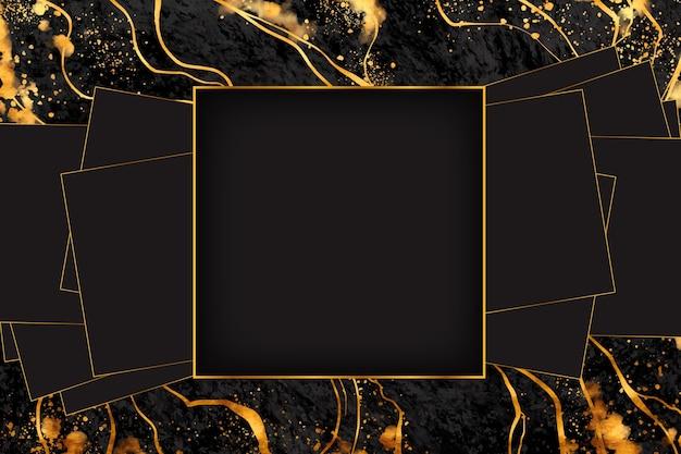 Rama z czarnego i złotego marmuru