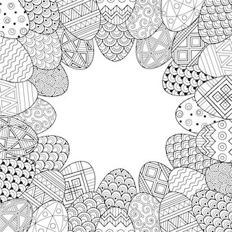 Rama z czarno-białych doodle pisanki