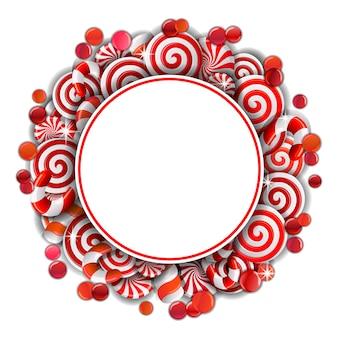 Rama z czerwonymi i białymi cukierkami.