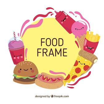 Rama z fast food w karykaturach