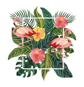 Rama Z Flamingami I Tropikalnymi Kwiatami Z Liśćmi Premium Wektorów