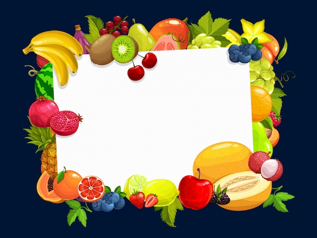 Rama z granicy kreskówka owoce tropikalne