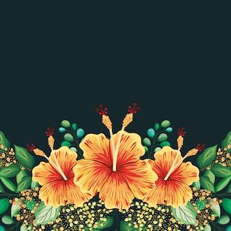Rama z hawajskim malowaniem kwiatów i liści