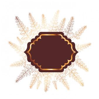 Rama z ikona na białym tle roślin i ziół