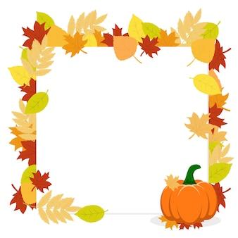 Rama z jesiennych liści i dyni na białym tle. jesienna rama