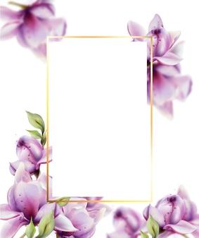 Rama z kwiatami akwarela. piękna ramka z motywem kwiatowym
