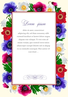 Rama z kwiatami anemonu