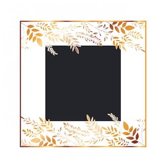 Rama z kwiatami i liśćmi złotymi