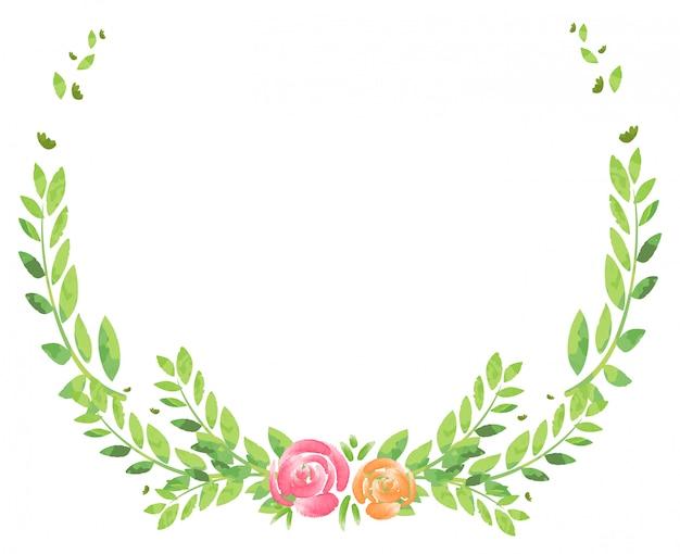 Rama z kwiatami i liśćmi
