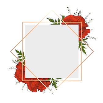 Rama z kwiatami. karta z czerwonymi makami i zielonymi brunche.