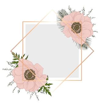 Rama z kwiatami. karta z różowymi zawilcami i zielonymi brunche.