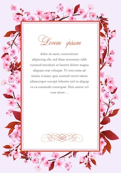 Rama z kwiatami wiśniowego drzewa