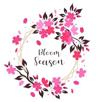 Rama z kwiatów sakura na białym tle. napis bloom season.