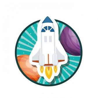 Rama z latającymi rakietami i planetami układu słonecznego