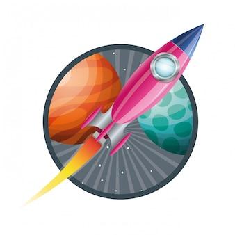 Rama z lataniem rakietowym i planetami układu słonecznego