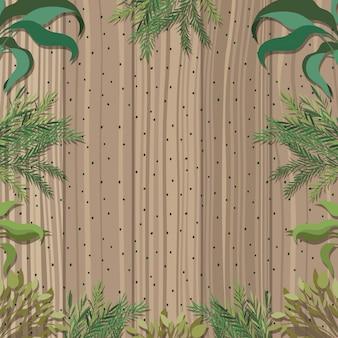 Rama z liśćmi i drewnianym tłem
